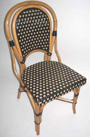 French Rattan Wood Frame Dining Bistro Chair With Black/Tan Glossy Weave