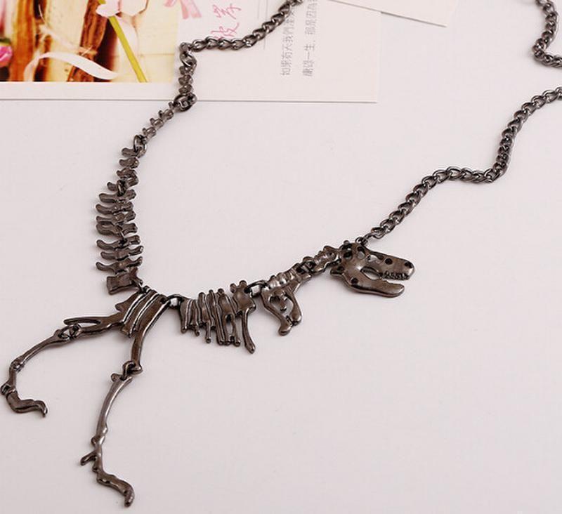 Details About Unique Large Dinosaur Skeleton Necklace Dino Statement Bib Dragon Bones Gunmetal Skull Pendant Skull Pendant Necklace Skull Jewelry