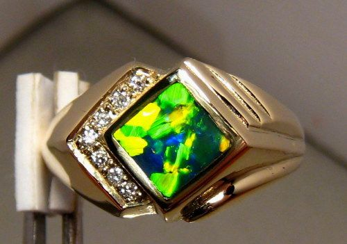 Awesome Bright Harlequin Opal & Diamond Ring 14k Gold