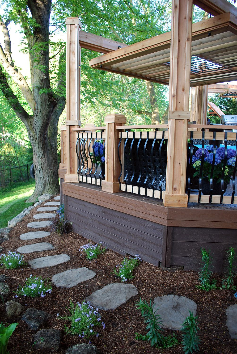 we transitioned this deck down to the yard with a winding on steps in discovering the right covered deck ideas id=82344