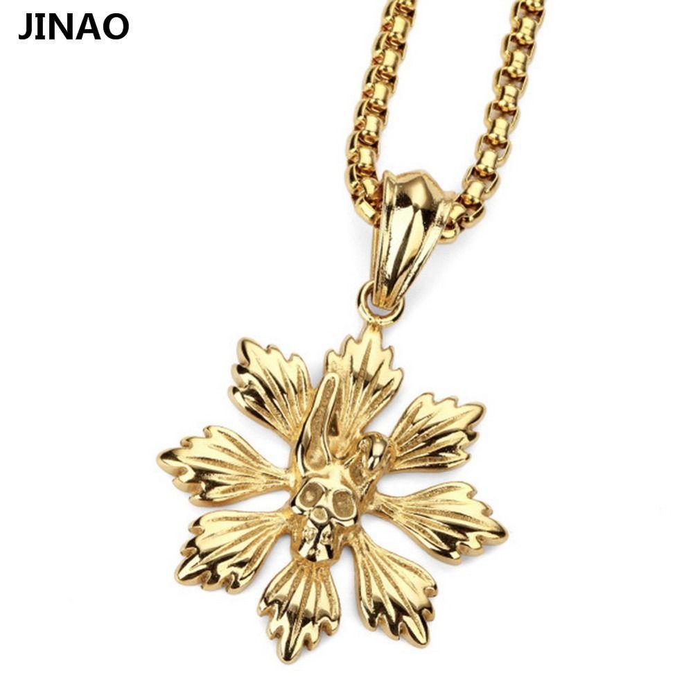Petals skulls hip hop necklace pendant jewelry stainless steel
