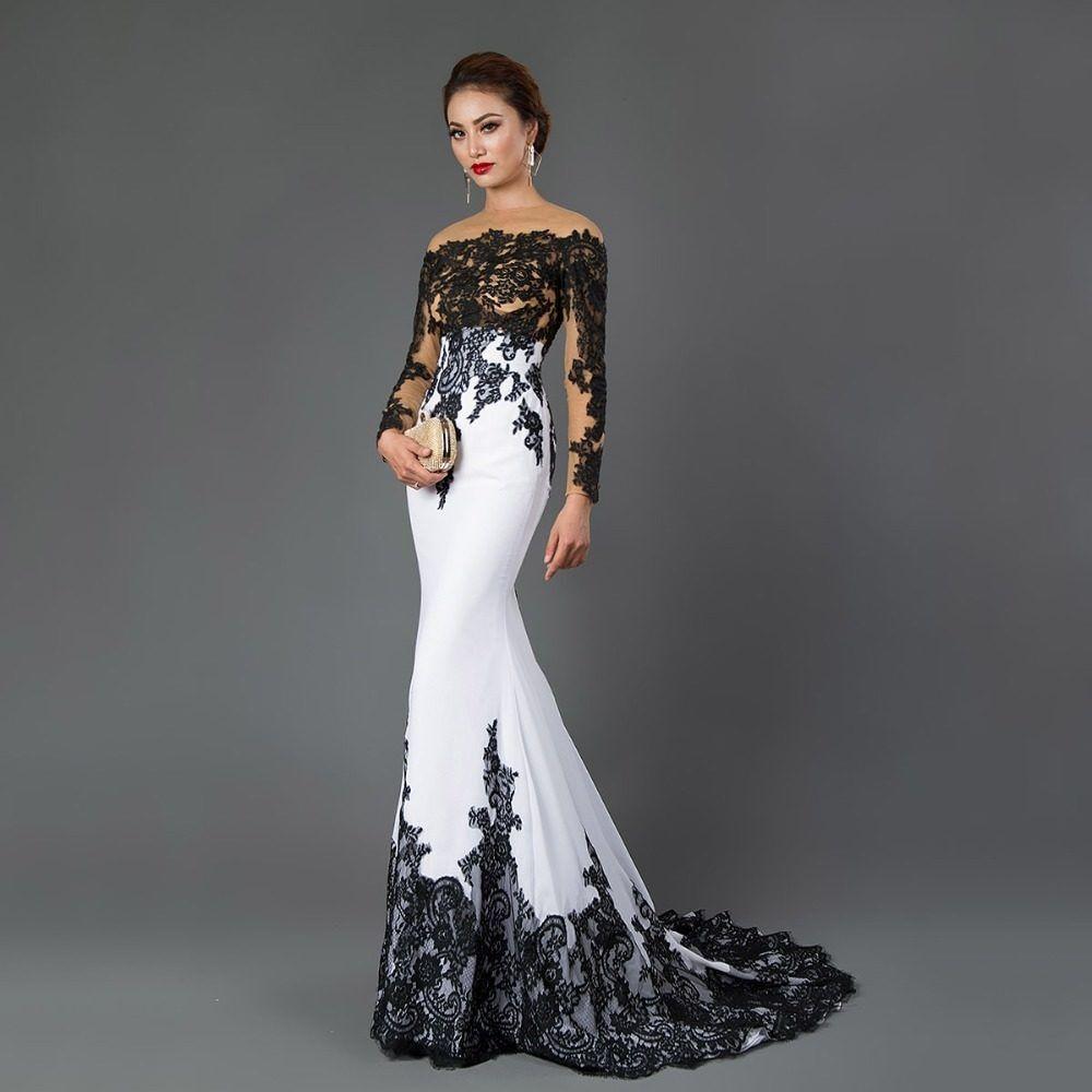 4fd02979a489d CAZDZY Manches Longues Sirène Robes De Soirée Appliques noir dentelle  balayage train formelle robe pour Femmes