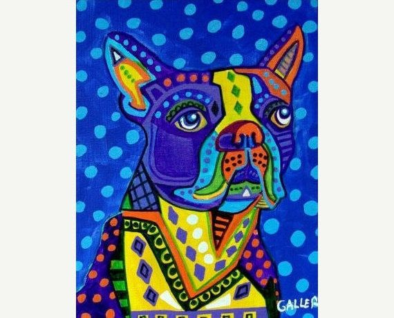 50% Off Code ACORN50 - BOSTON TERRIER Art Poster Print of painting by Heather Galler (HG200)