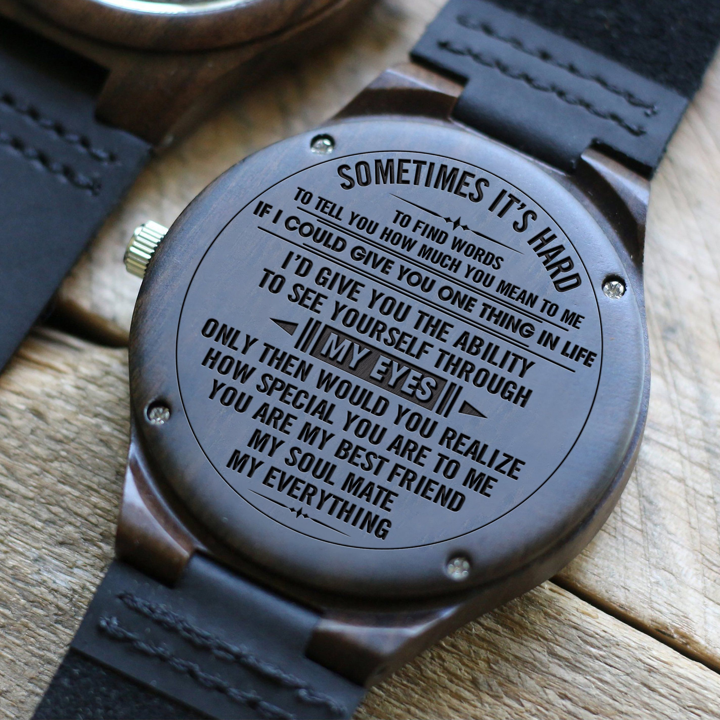 W1553 Through My Eyes For Husband Engraved Wooden Watch Wooden Watch Engraved Thoughtful Gifts For Him Surprise Gifts For Him