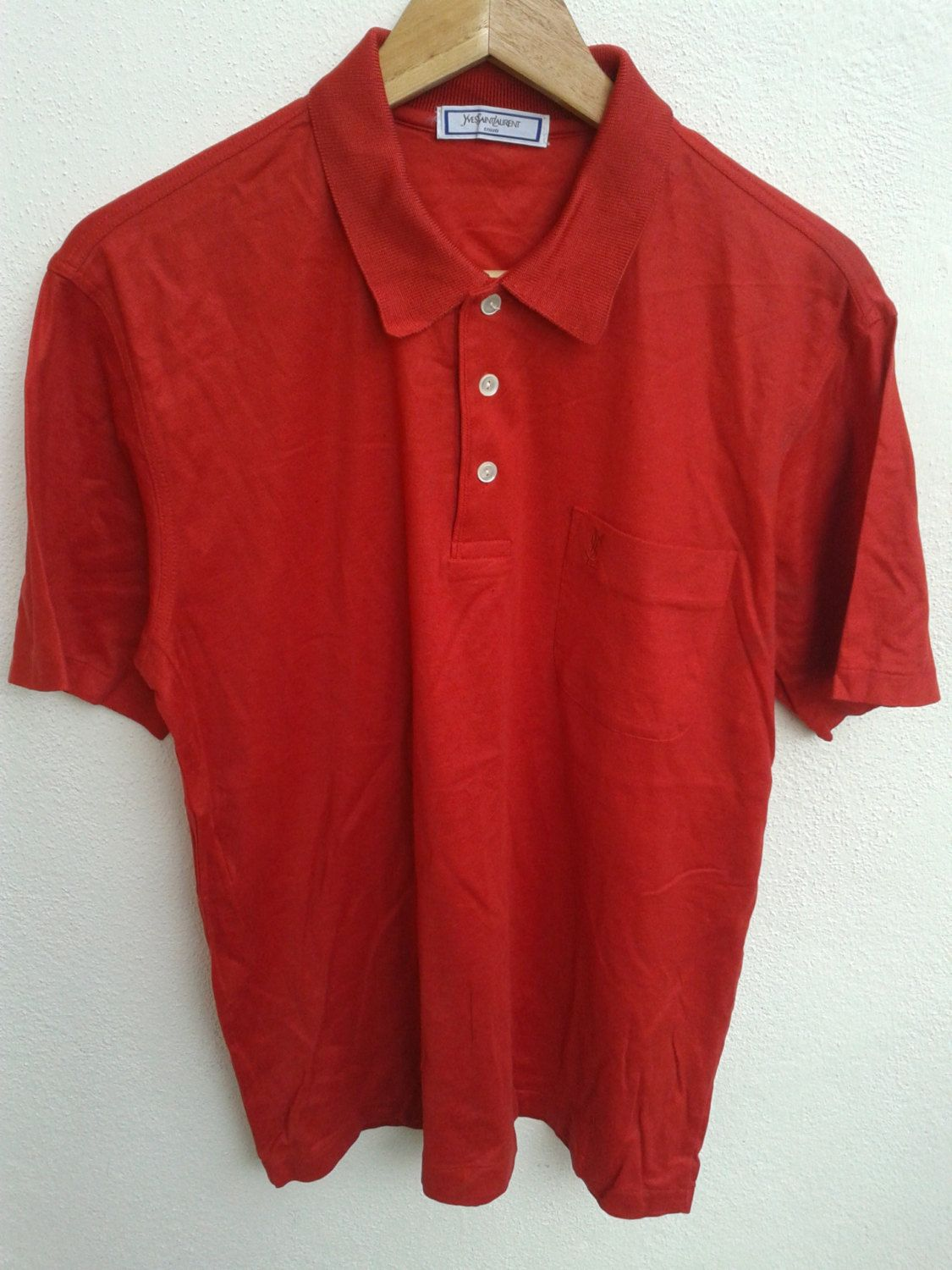 3fcbd91e SUMMER SALE YSL Yves Saint Laurent Tricots Red shirt Small Logo Pocket Swag  Polos Casual Shirt Vintage Retro Size M - $17.85 USD