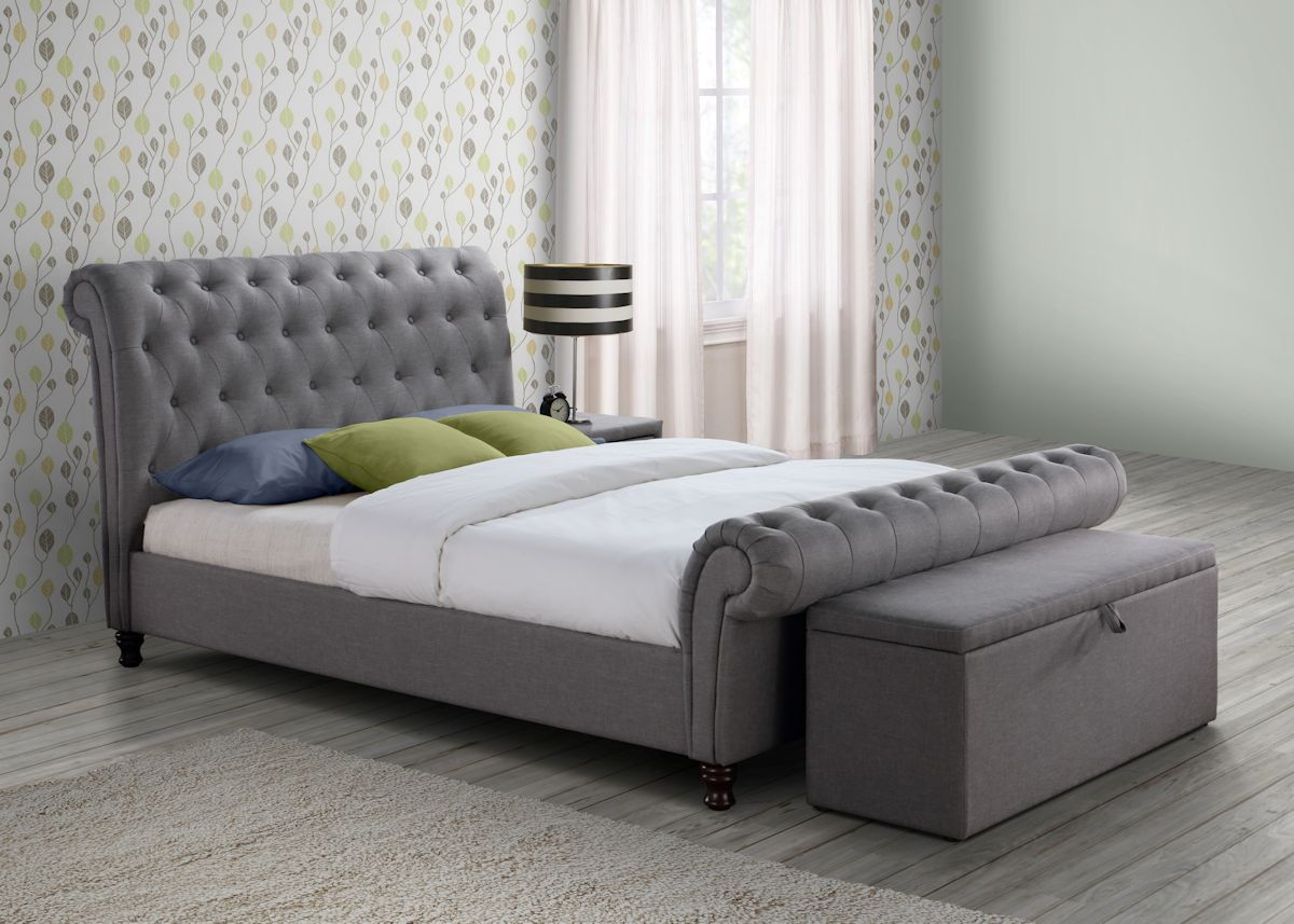 Birlea Castello Grey Bed with Sorrento Storage Ottoman Grey. Birlea Castello Grey Bed with Sorrento Storage Ottoman Grey