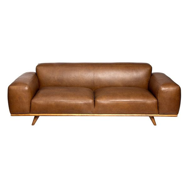 Dante Italian Oxford Tan Leather Sofa 1 900 Liked On Polyvore Featuring Home Furniture Sofas Light Brown Couch
