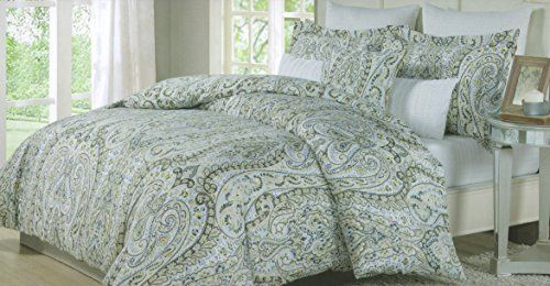 King Duvet Cover Sets, Yellow And Gray Paisley Bedding