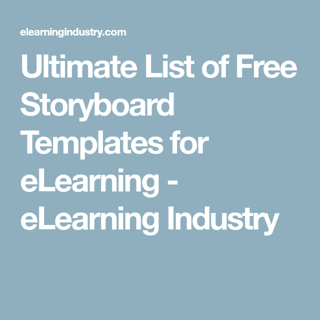 Ultimate List Of Free Storyboard Templates For Elearning