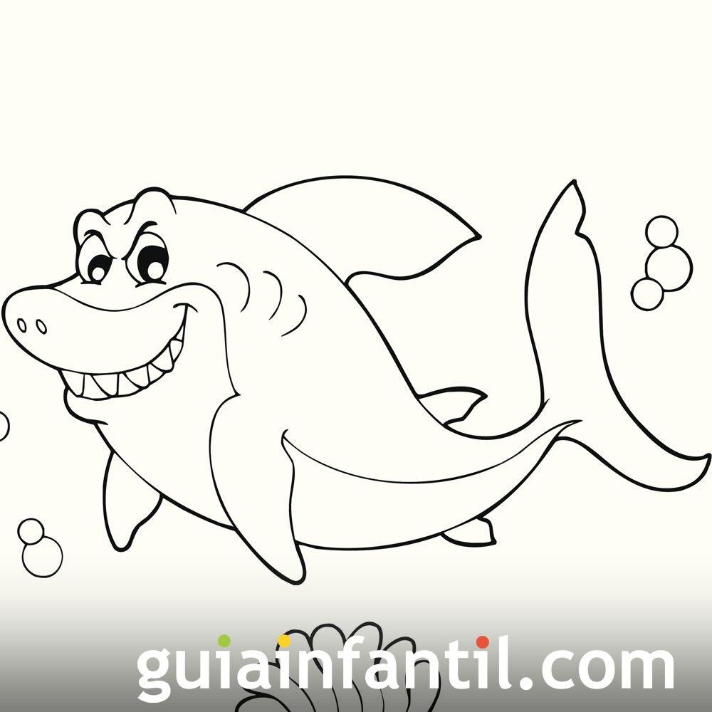 Dibujo de un tiburón para colorear - Dibujos de animales del océano ...