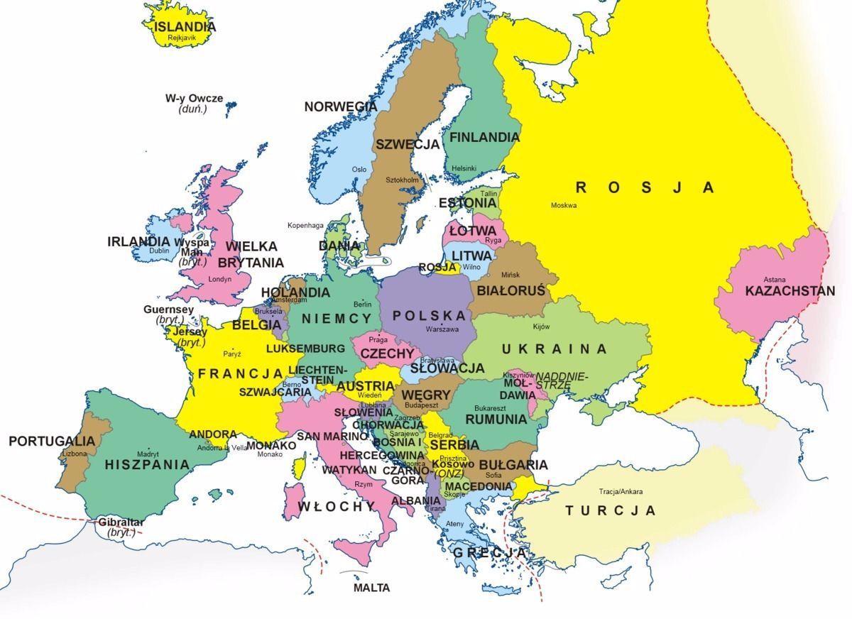 Znalezione Obrazy Dla Zapytania Mapa Polityczna Europy I Stolice