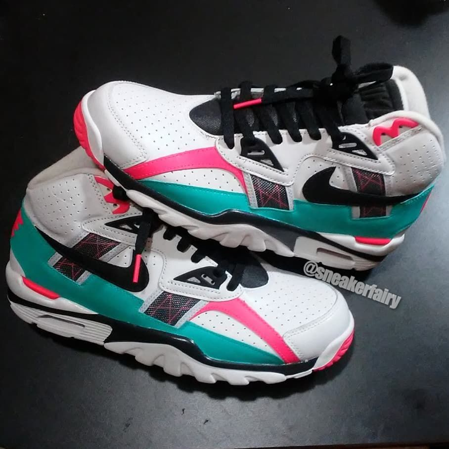 the latest 62a8d 24ac5 sneaker fairy fetti dbiasi custom sneakers shoes nike air trainer trainers  bo jackson knows south beach miami vice flamingo pink aqua teal lebron  lebrons 8
