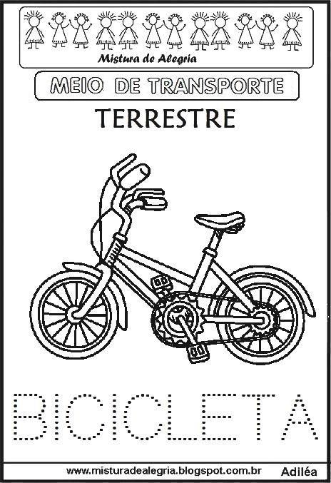 Meios De Transportes Bicicleta Imprimir Colorir Jpg 464 677