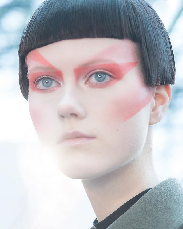 #THELOOK at #AW16 Défilé @jgalliano @MaisonMargiela @lexyroche  A blend of graphically cut textures and colors to accentuate the eyes and cheeks.  Hair by @eugenesouleiman #makeupbypatmcgrath Photo by #patmcgrathstudio #PFW