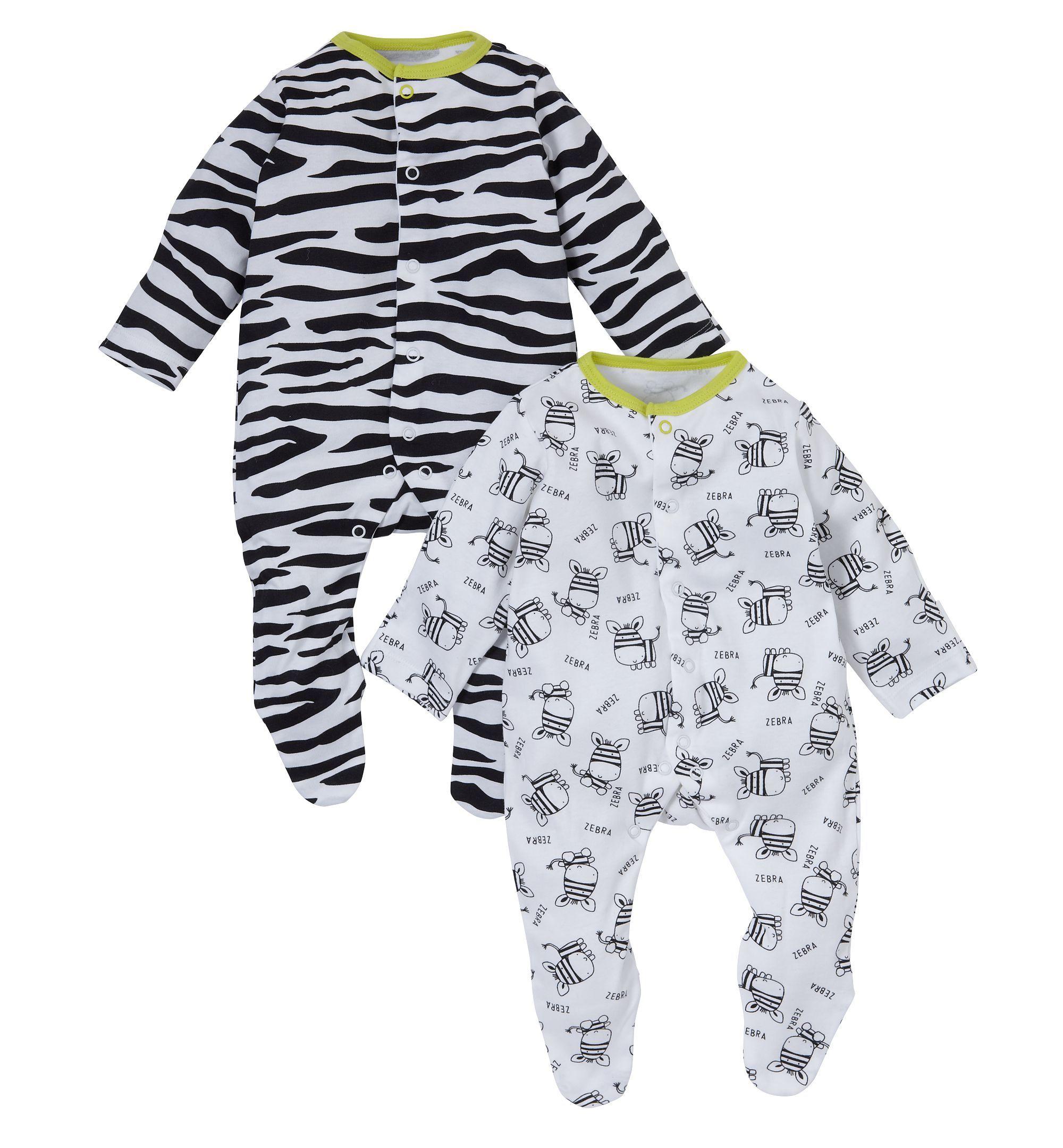 Mothercare Unisex Black and White Zebra Sleepsuits - 2 Pack  fb259f13e