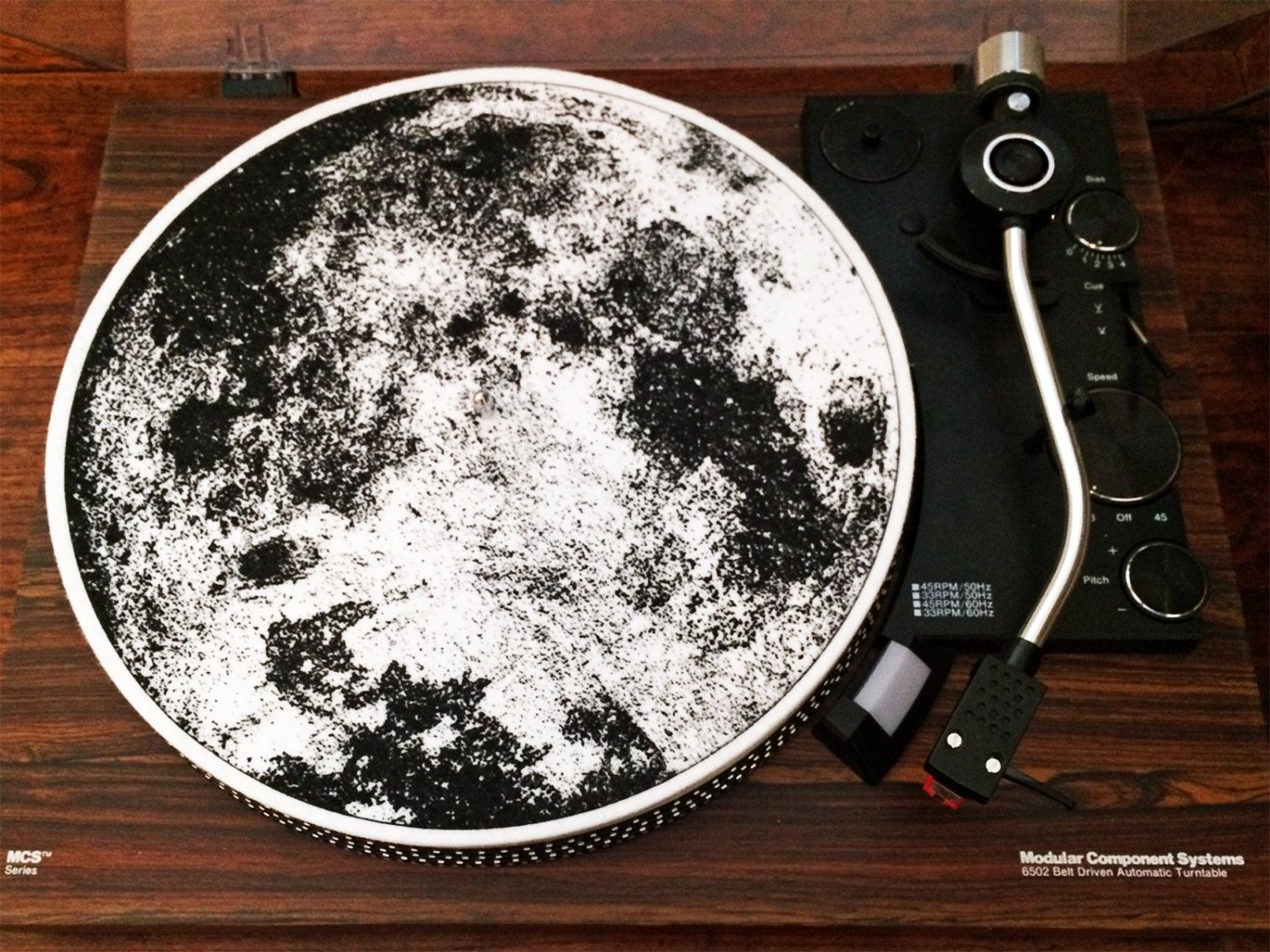Turntable Slipmat: The Moon by PorchlightCoffee on Etsy