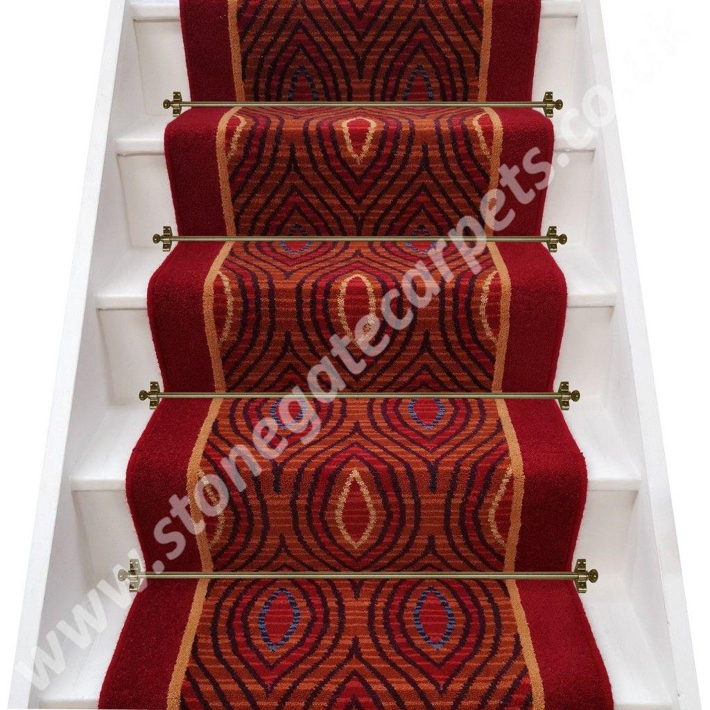 William Morris Inspired Axminster Carpets Rendezvous Cairo Canyon Insert Grange Wilton Redcurrant Stair Runner Per M In 2020 Stair Runner Carpet Fitting Axminster Carpets