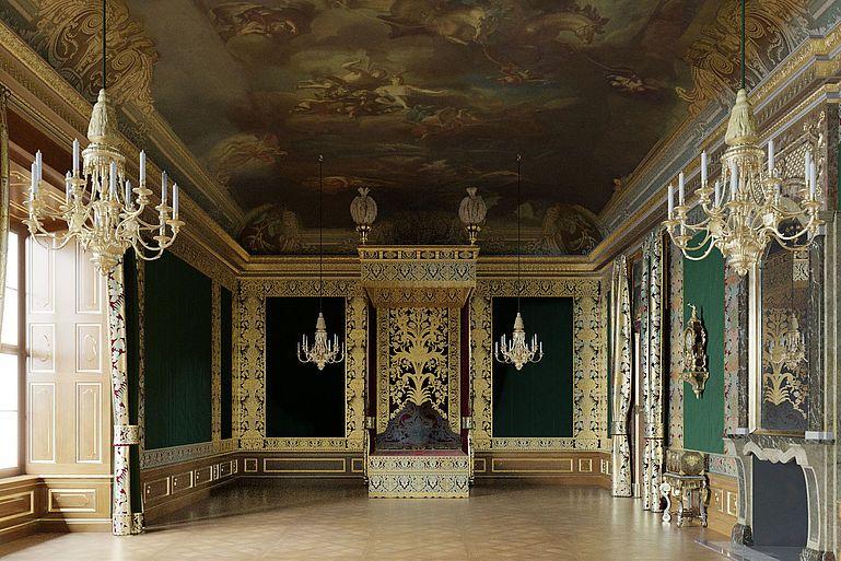 Das Reprasentative Paradeschlafzimmer In Grunem Ton Dresden Dresdner Schloss