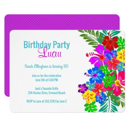Luau Birthday Party Purple Hibiscus Swag Card Luau Birthdays and