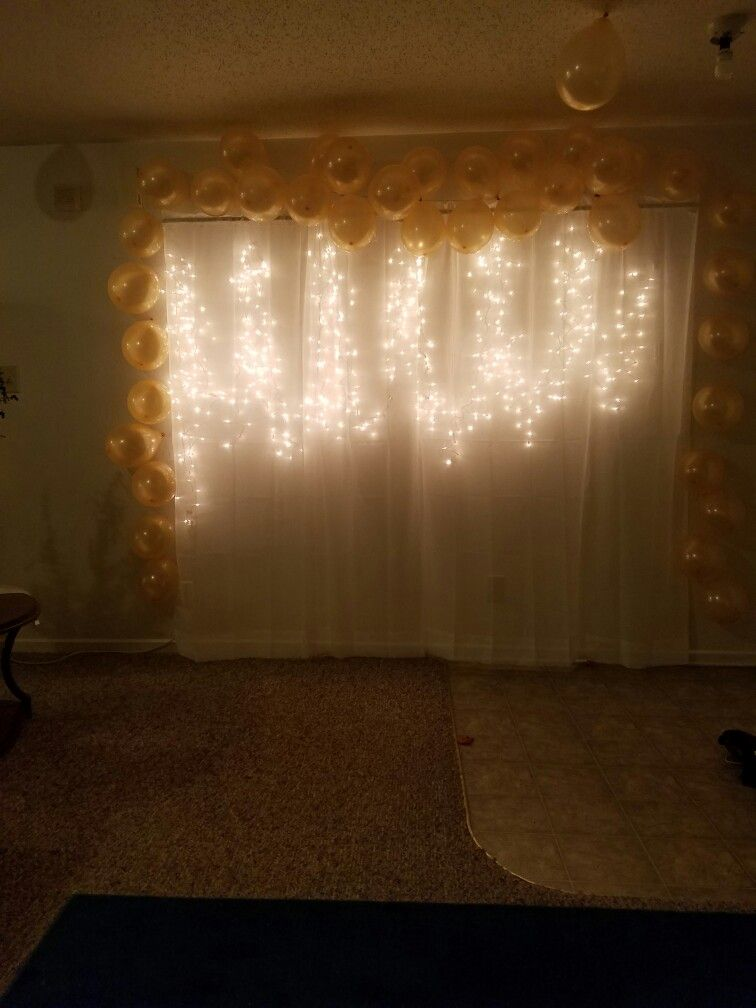 Beautiful back drop for any party. All you need: curtain rods ...