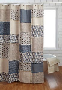 Millie Shower Curtain Tan Creme French Country Cottage Blue Natural Canvas Patch