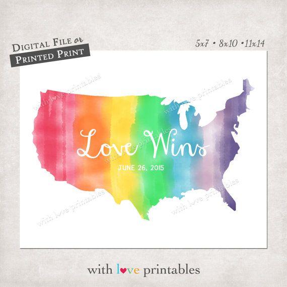 Love Wins Won United States Map USA Rainbow Watercolor Art