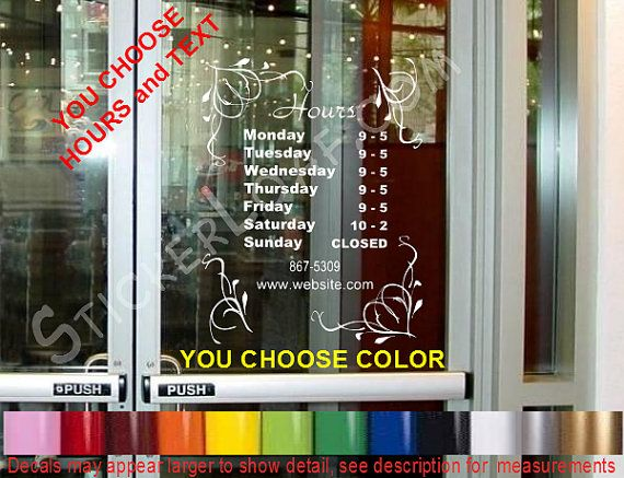 STORE HOURS CuStOm Window Decal Business Shop Storefront Door Sign - Window decals for business atlanta