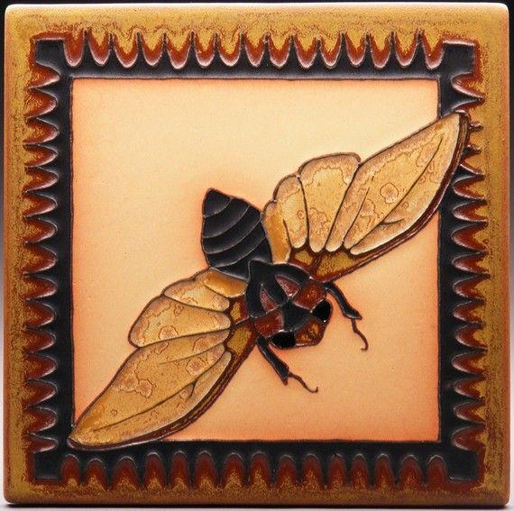 Twilight Cicada  8x8  Made to Order by PrairieMileTile on Etsy, $78.00