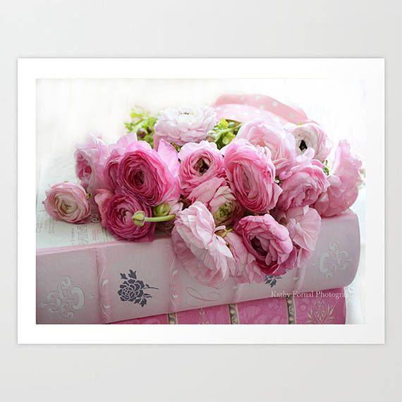 Prime Shabby Chic Decor Pink Ranunculus Roses Peony Floral Prints Interior Design Ideas Lukepblogthenellocom