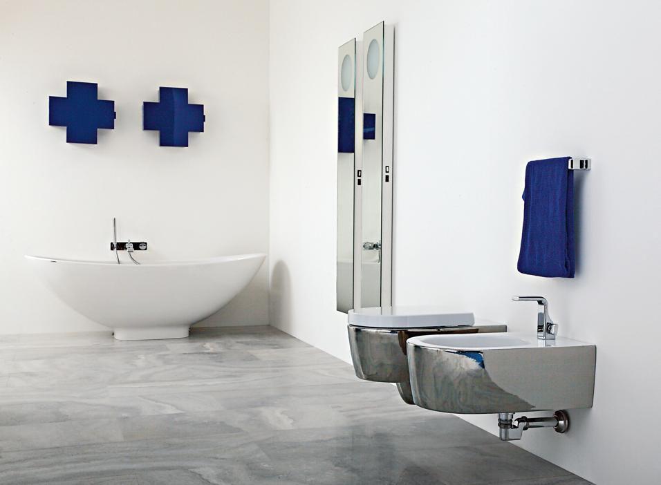 un bagno di comfort sanitari link di ceramica flaminia nella nuova versione metal platino design
