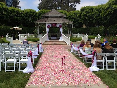 Use scatter rose petals in different colors on the floor. http://memorablewedding.blogspot.com/2013/09/gazebo-wedding-decorations.html