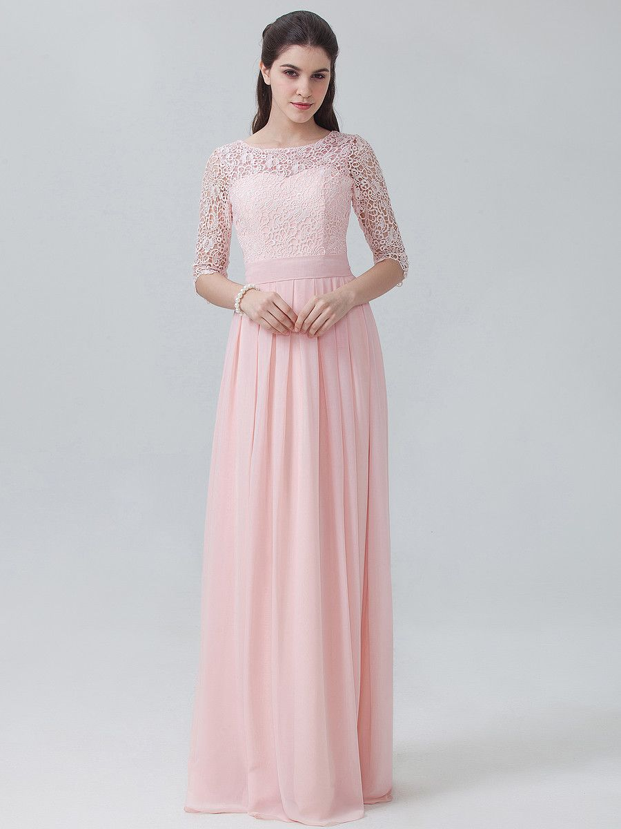 e8d8582d long sleeve elegant floor length peach bridesmaid dress with lace bodice  from @forhimandforher