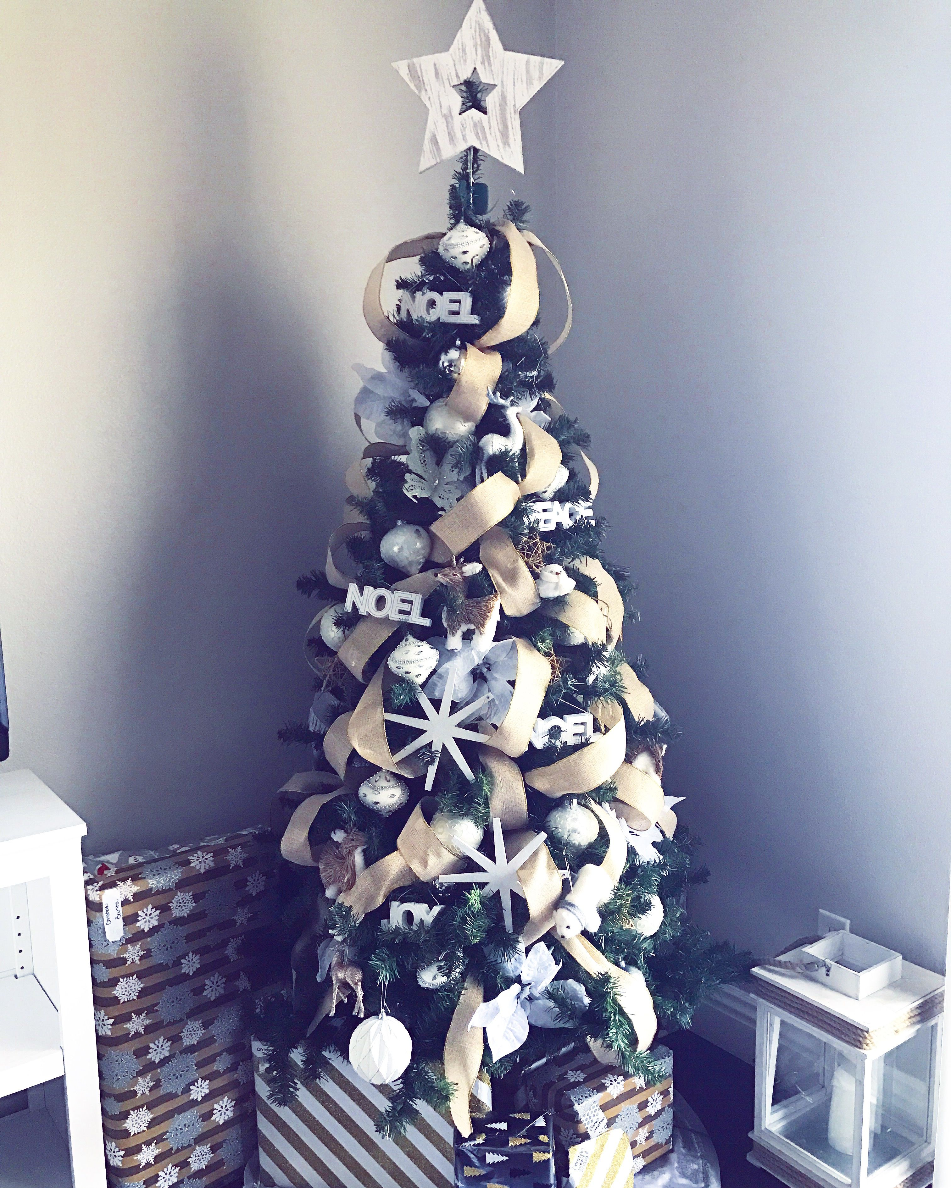 My Rustic Glam Christmas Tree. Featuring burlap ribbon and white wash wood.  White and silver ornaments. Winter wonderland