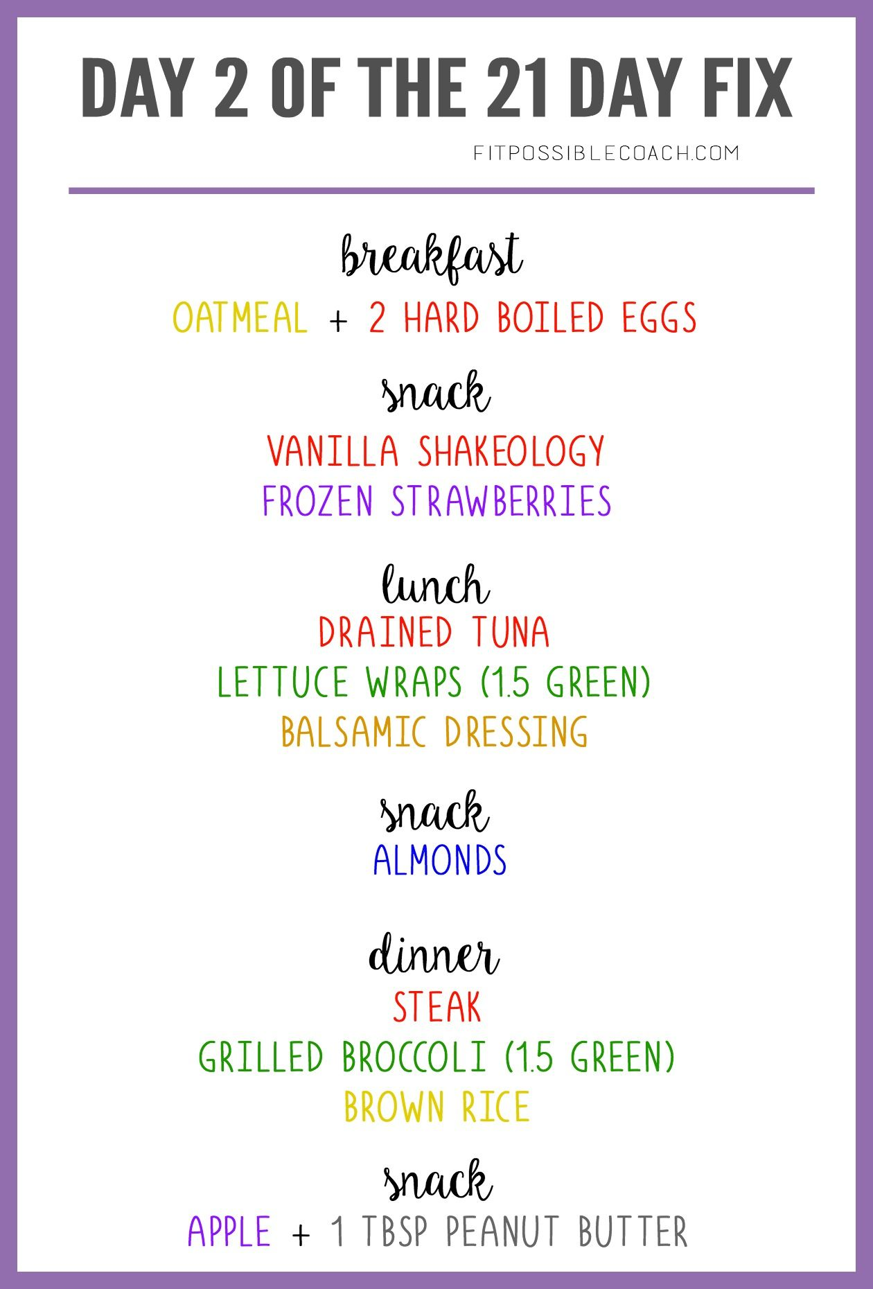 sample 21 day fix one day meal plan for bracket 1 1200 1499