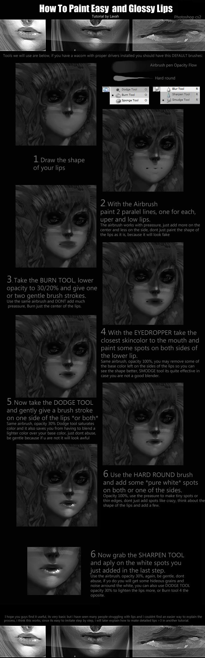 Easy lip painting tutorial 2 by Lavah.deviantart.com on @deviantART