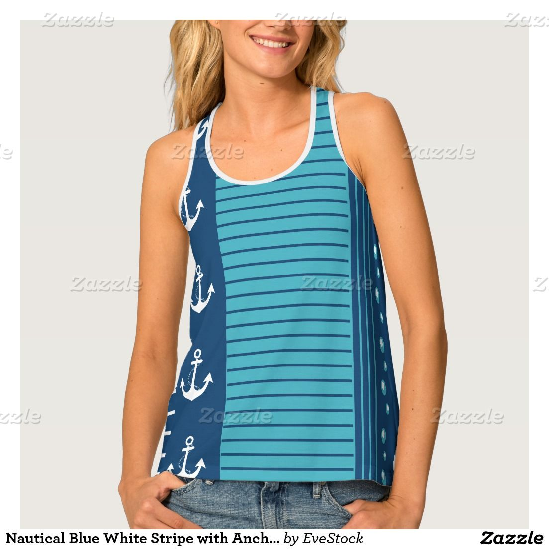 Nautical Blue White Stripe with Anchor Tank Top