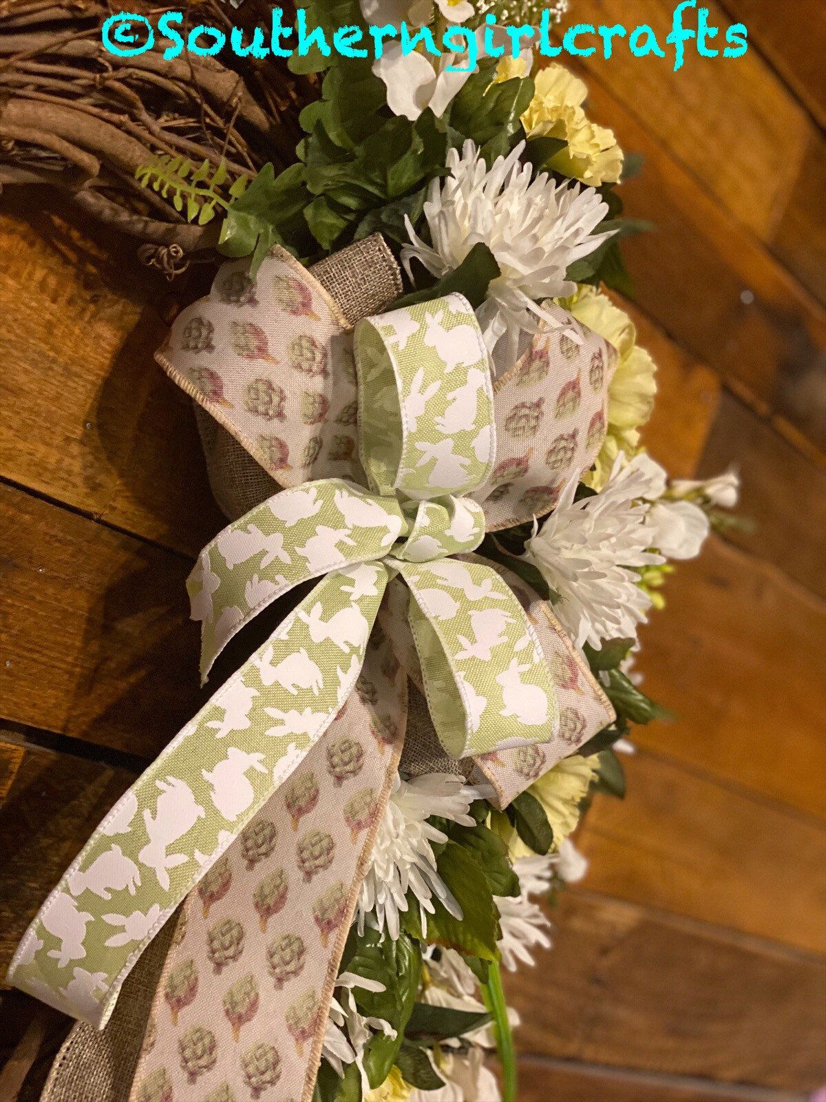 Photo of Easter grapevine wreath, farmhouse decor, front door decor, simple elegance