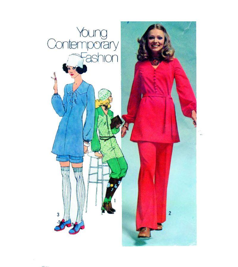 70s Pant Suit Women Sewing Pattern Simplicity 9499 Size 16 Long