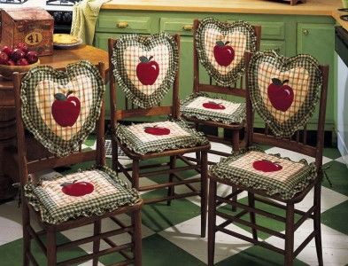 Apple kitchen decor chair seat back cushions 8 pc set for Apple decoration ideas