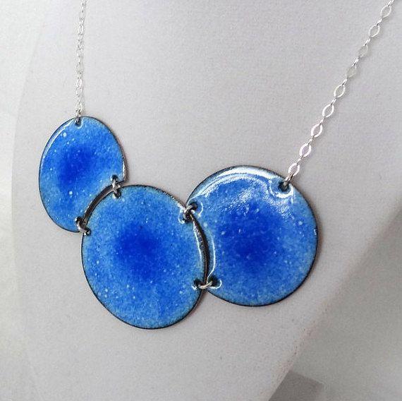 Reversible Cobalt Blue Ombre Enamel Statement Necklace by cjsseashop