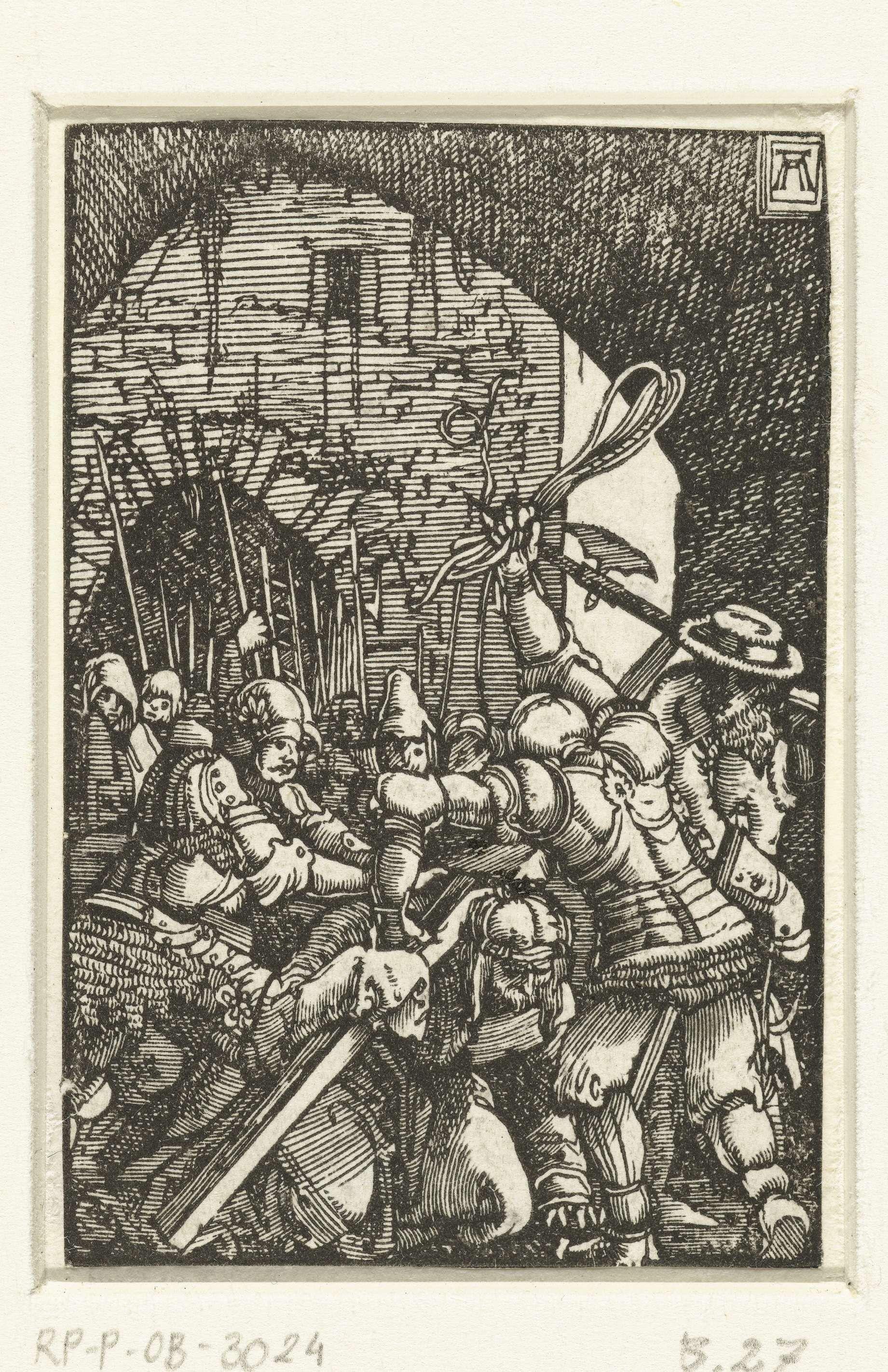 Albrecht Altdorfer   Kruisdraging, Albrecht Altdorfer, c. 1506 - 1538   Christus op zijn knieën, het kruis op zijn schouders dragend. Achter hem een menigte mensen, voor hem een soldaat die op het punt staat met een touw te slaan. Zevenentwintigste prent uit een serie van veertig.