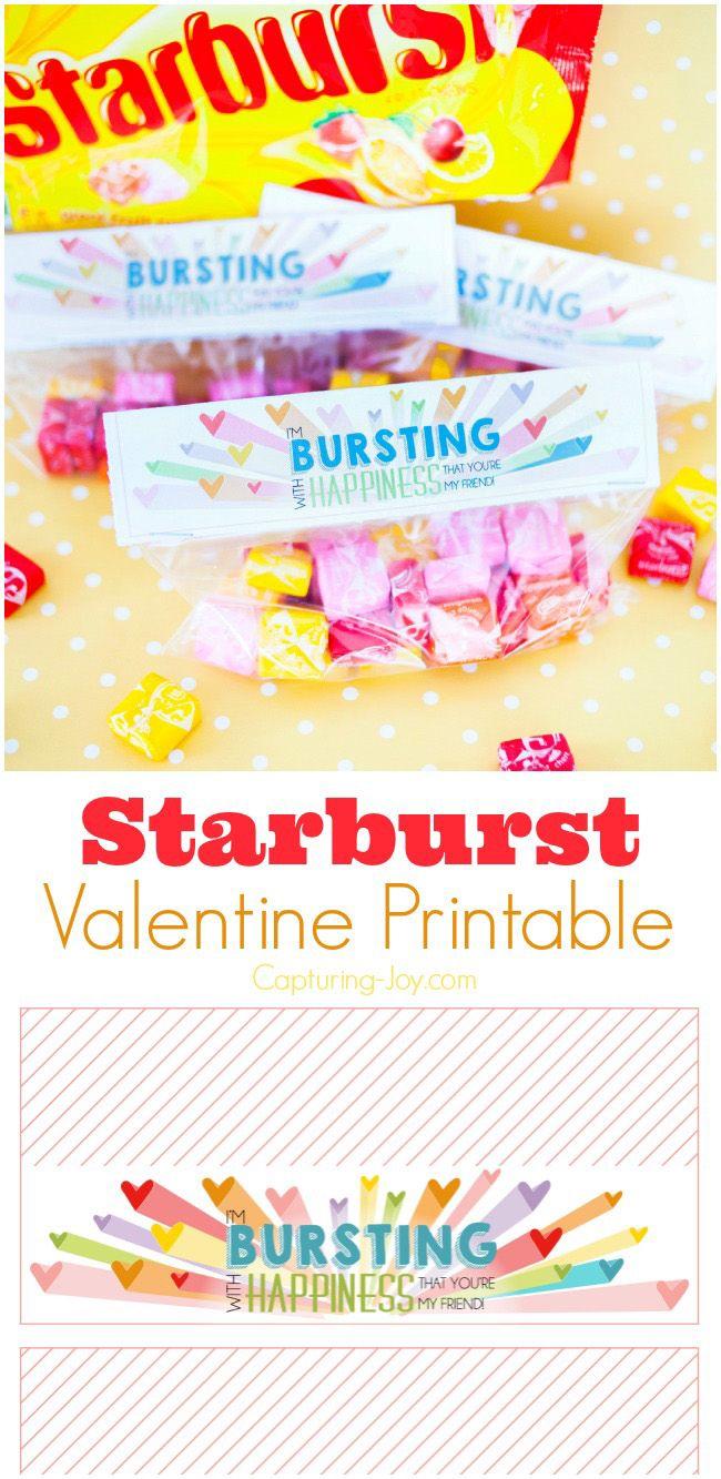 Starburst Valentine Free Printable   Kinder valentines und Kind