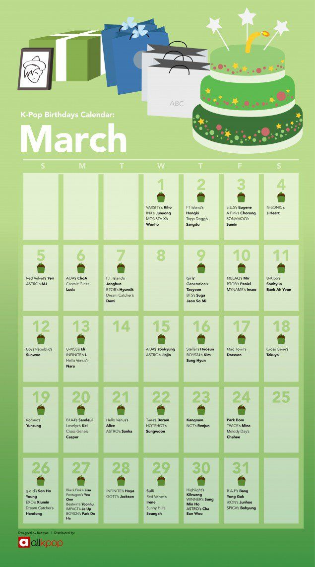 The K Pop Birthdays Calendar March Allkpop Com Birthday Calendar Birthday Calender Birthdays