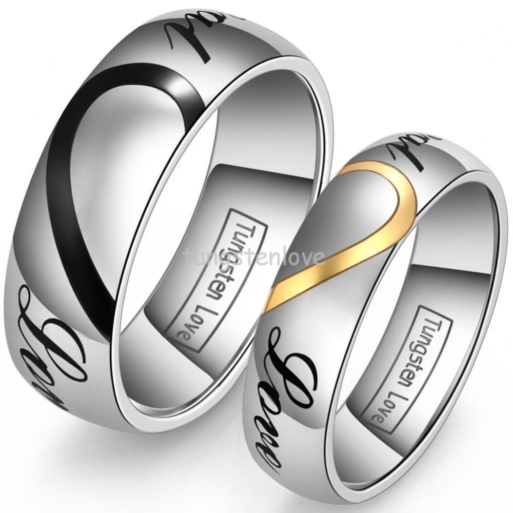 "lover's matching heart tungsten carbide men women promise ""real"