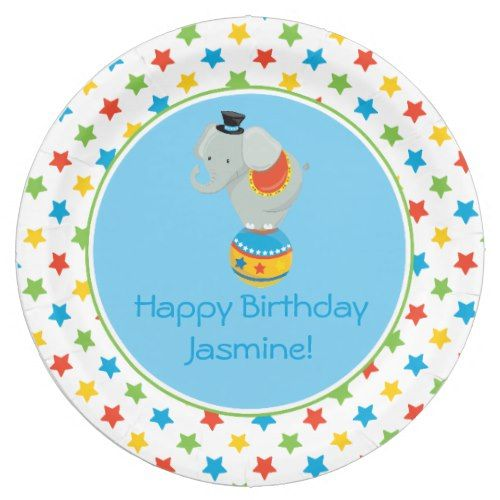 Circus Theme | Elephant on Ball | Personalized Paper Plate | Circus Birthday Party | Pinterest | Circus theme and Circus birthday  sc 1 st  Pinterest & Circus Theme | Elephant on Ball | Personalized Paper Plate | Circus ...