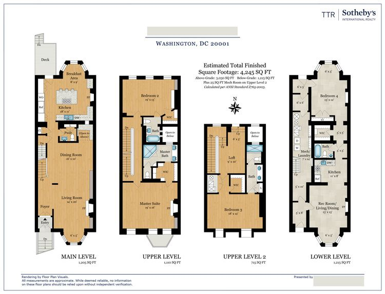 • Location: Washington, DC • Property Type: Townhouse • Size: 4,245sq ft • Order: Color floor plan