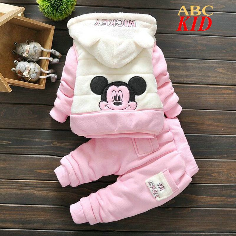 $23.99 3pcs/ set Winter Fleece Clothing Set , Cartoon Mickey Mouse Tracksuit