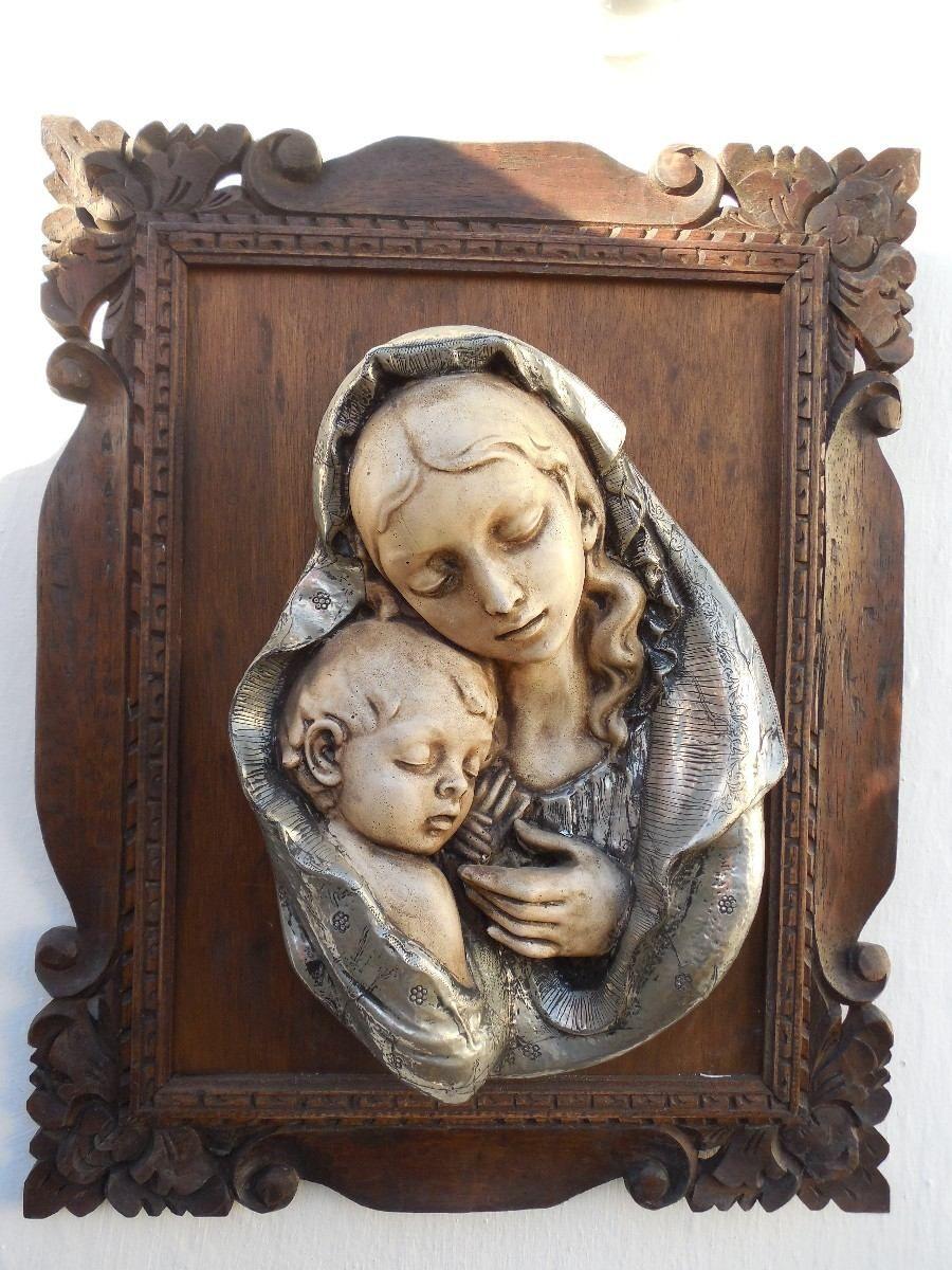 Relieve Artesanal De La Virgen Y El Niño Jesus - $ 1.000,00 en MercadoLibre