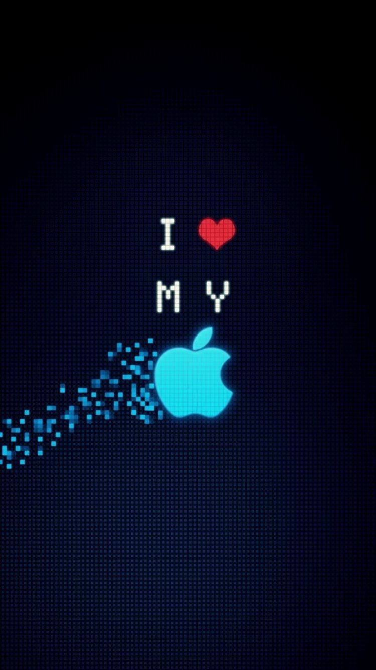 750x1334 wallpaper apple, blue, black, heart, red, sound, speaker