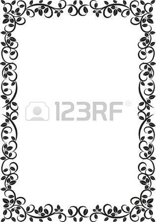 bordure rectangle decorative silhouette floral frame illustration bordure cadre d corative. Black Bedroom Furniture Sets. Home Design Ideas